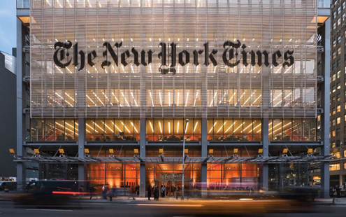 The New York Times office. In New York.