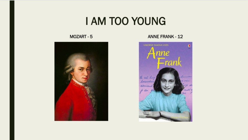 Mozart was only 5 when he was very competent on keyboard & violin and composed music notes