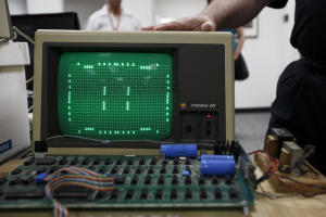 One of Apple 1 computers runs a program on June 18, 2013 at History San Jose. (Dai Sugano/Bay Area News Group)