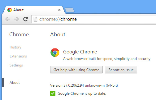 About Chrome 37, 64-bit for Windows