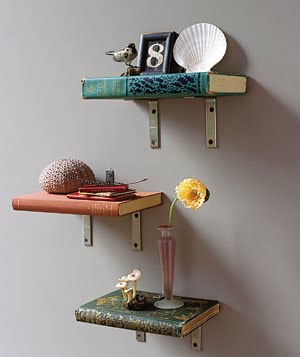 turn old books into shelves with brackets