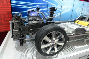 The front end of Toyota's FCV has a power control unit and electric motor that use the output from the fuel cell