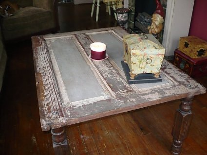 old door turned into coffee table