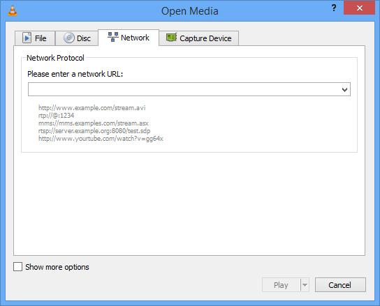 VLC: Open Network Stream